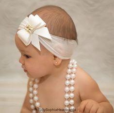 Diadema de lazo blanco venda arco del bebé venda por BySophiaBaby