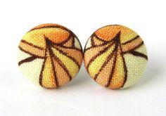 Button earrings studs yellow brown orange fabric by KooKooCraft, $12.50
