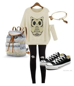 Cute fall outfit by catherineiz on Polyvore featuring polyvore, fashion, style, Converse, Candies and Alex and Ani