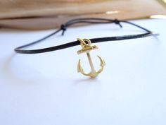 Anchor necklace for men, nautical necklace, Black leather cord choker, Surfers Adjustable choker, Masculine Jewelry, sailor,Gift for him by MasculineWear on Etsy https://www.etsy.com/listing/227894190/anchor-necklace-for-men-nautical