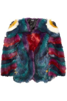 I KNOW THIS IS CRAY...BUT LOVE IT!!! Meadham Kirchhoff|Hibiscus Monster faux fur coat|NET-A-PORTER.COM