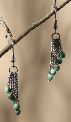 Dainty chains with turquoise & gray colored beads, so pretty!