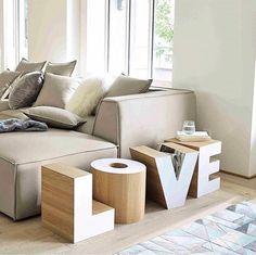 Bout de canapé en bois blanc L 121 cm LOVE Home Decor Furniture, Furniture Design, Home Living Room, Living Spaces, Regal Design, Home Salon, Interior Decorating, Interior Design, Interior Ideas