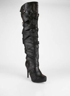 thigh high strappy boot