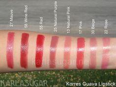 Korres guava lipstick swatch