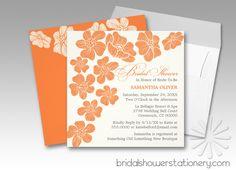 Modern Floating Flowers Orange Bridal Shower Invitations
