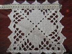 Olá!!     Testei mais um square que pode ser usado para colchas e toalhas de mesa.   Desta vez utilizei um restinho de barbante branco ...