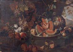 Attribué à Maximilian PFEILER (actif au XVIIIe siècle)  Nature morte au plat de melons et au panier de grenades et raisins dans un paysage  toile 90 x 125 cm (Restaurations)