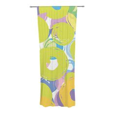 "Emine Ortega ""Circle Me"" Decorative Sheer Curtain from KESS InHouse #curtains #window treatment #kessinhouse #homedecor #circles #geometric #modern #painterly #yellow #lilac #lime #white #teal #home #decor #bold"