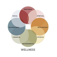 There are 8 dimensions of wellness - emotional, environmental, financial, intellectual, occupational, physical, social and spiritual.  To learn more, click on the image.