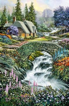 cottage by Thomas Kinkade