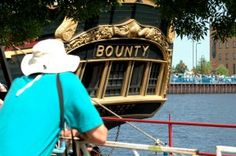 Visitors stood in line to tour the replica ship Bounty in Duluth, MN during the tall ship festival. The tall ships return to Duluth but the Bounty will not be among the ships. It sank in 2012 off the coast of North Carolina.