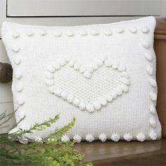 knitted heart pillow ... free pattern