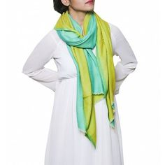 Stylish reversible stole in blended cashmere at dvibgyor.com . Stole fashion you will love in lime green and blue. Now up your ante!  #fashion #stole #designer #cashmere #reversible #dvibgyor
