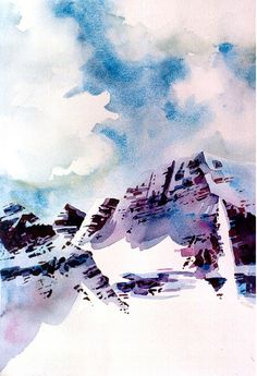 Mountain Watercolor Painting - Athabasca Valley, Rocky Mountains by 6catsart