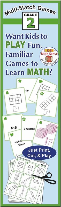 Children will have fun as they learn addition, place value, time, arrays, and more while playing games similar to memory or Crazy 8s. These games are quick-prep – just print 5 sheets of paper and cut apart! ~by Angie Seltzer