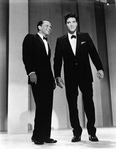 Elvis And Frank: Crooner Frank Sinatra welcomes back Rock and Roll star Elvis Presley after his stint in the US army on his self titled TV variety show on March 26, 1960 (the show aired May 12, 1960) in Los Angeles, California. (Photo by Michael Ochs Archive/Getty Images) #elvis #sinatra #usarmy