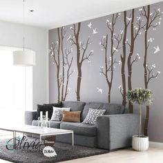 Set of 7 Large Birch Tree vinyl wall decals by theOliviaDesign