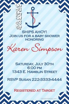 Nautical anchor baby shower invitations.  Design online, download and print immediately!