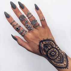 Instagram media indigo_lune - Shop all these sterling silver rings and temporary henna tattoos from our site // INDIGOLUNE.com ➰