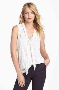 Olivia Moon Sleeveless Tie Neck Knit Shirt | Nordstrom I chose this top because of its versatility... it is casual enough for weekends but can be paired with skinny jeans and heels for after work drinks with my girlfriends.