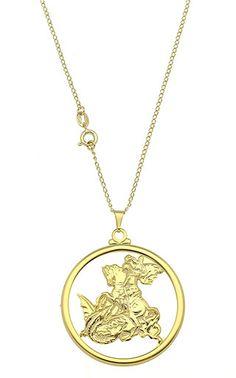 Gargantilha folheada a ouro c/ a medalha de São Jorge