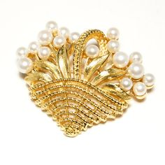 Vintage Signed Crown Trifari Gold Tone Basket Brooch with a beautiful Bouquet of Pearl Flowers