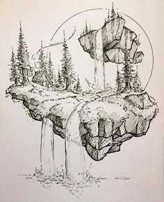 How to Draw A Loch Ness Monster - Drawing On Demand Outer right thigh Drawing Sketches, Art Drawings, Drawing Ideas, Monster Drawing, Desenho Tattoo, Art Inspo, Painting Inspiration, Pen Art, Landscape Art