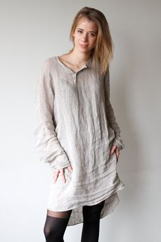 Lazy days 100 natural linen dress by DoroTheus on Etsy