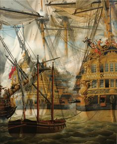 """missfolly: """" The Fight between 'Le Lys' and 'La Gloire' against the 'Cumberland' Louis-Philippe Crépin The book, 'War at Sea Under Queen Anne by John Hely Owen contains a good. Anglo Dutch Wars, Old Sailing Ships, Ship Of The Line, Wooden Ship, Ship Art, Model Ships, Tall Ships, Royal Navy, Beautiful"""