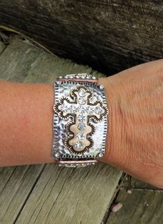 Cowgirl Bling  CROSS Rhinestones Bracelet Hammered Metal Tri tone Rustic Gypsy  #story #chain