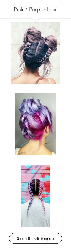 """""""Pink / Purple Hair"""" by mildabas ❤ liked on Polyvore featuring hair, accessories, hair accessories, purple hair accessories, tops, perrie, red top, carrington durham, carrington and mcm"""