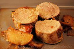 filetto di maiale con mele e cipolle