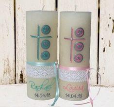 Individuelle Kerzengestaltung | Kerzendesign Schenke Pillar Candles, Mint, Pink, First Communion, Craft Tutorials, Vintage Lace, Handarbeit, Candles, Peppermint