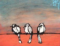 "3 little birds 11x14x2"" wood panel"
