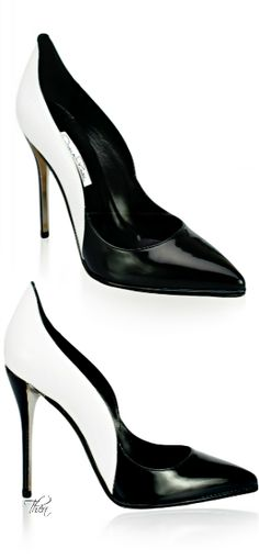 Oscar de la Renta ~ Leather High Heel Pumps,  Black / White