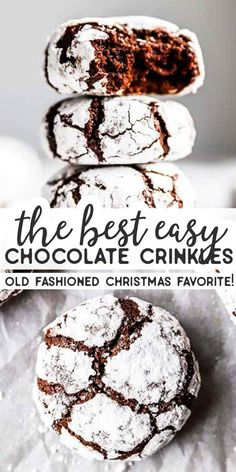 These Chewy Chocolate Crinkle Cookies are soft and turn out picture-perfect! An… These Chewy Chocolate Crinkle Cookies are soft and turn out picture-perfect! An EASY dough make these the best Christmas cookies for your holiday baking! Best Christmas Cookies, Christmas Snacks, Xmas Cookies, Christmas Cooking, Yummy Cookies, Baking Cookies, Baking For Christmas, Christmas Cupcakes, Cake Cookies