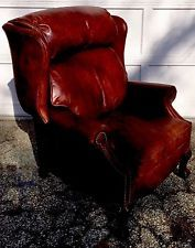 Drexel Heritage RARE Leather  Recliner Chippendale Claw Feet Brass Tack Details
