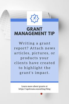 Grant management tip : Give your funders a better picture of the difference their grant has made by including attachments in your next grant report. Click through to read more helpful grant report writing tips. Grant Proposal Writing, Grant Writing, Writing Tips, Business Writing, Report Writing, Business Class, Nonprofit Fundraising, Fundraising Ideas, Grant Application