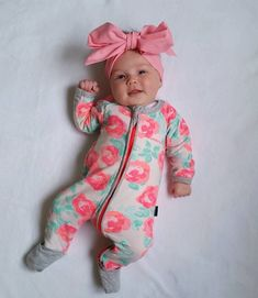 Newborn Baby Rose One Piece Outfit Winter Fall Long Sleeve Romper #babywinteroutfits