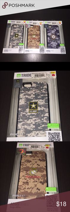 Trident iPhone 6/6S US Army Case +Screen Protector Listing is for one case. Pick one: Available in US Army, US Navy & Marines (Retail $34.99 ea) FEATURES - Aegis cases are slim and light-weight, but packed with protection. Cases feature an inner-layer of shock-absorbing silicone with an outer-layer of hardened polycarbonate, providing 2 layers of protection. These cases also include a self-applicable screen protector. Cases feature hardened bio-enhanced plastic that is recyclable, degradable…