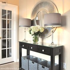 Cheap and chic entry. Mudroom alternative Entryway With Mirror, Console Table With Mirror, Entryway Wall, Entryway Tables, Front Hall Decor, Entrance Table Decor, Entrance Foyer, Living Room Decor, Front Entry Tables