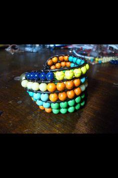 Gemstone & leather bracelet by dodimatto on Etsy