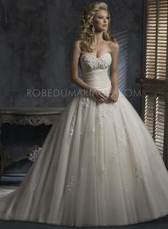 Sans bretelle robe boule col en coeur applique dentelle perle satin robe de mariée [#ROBE201336] - robedumariage.com