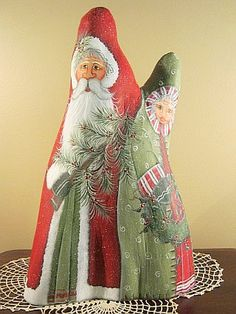 painted cypress knees | ... hand painted on a unique double pointed cypress knee santa is 16 1 2