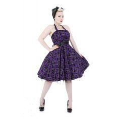 Hearts & Roses London Black Purple Tartan Bow Long Dress - Suicide Glam Australia