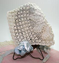 🚼Croché Vindima Capota do Bebê e Sala Botão Retro do Bebê -  / 🚼 Vintage Crocheted Baby Bonnet and Baby Button Retro Room -