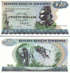Zimbabwe 20 Dollars 1980 (Giraffe, elephant) Bank Account Balance, Folding Money, Money Worksheets, Puerto Rico History, Money Notes, Zimbabwe, British History, Travel Posters, Countries