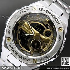Casio G-Shock Analog Digital G-STEEL Layer Guard Stainless Steel Mens Watch GST-210D-9A, GST210D Casio Edifice, Casio G Shock, Watches Online, Casio Watch, Layering, Watches For Men, Steel, Stuff To Buy, Men's Watches