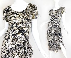 Sz 8 90s Wrap Front Printed Rayon Midi Dress   at SadieBessVintage - 1990s Vintage Fashion